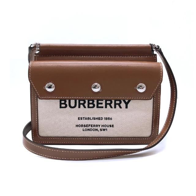 【BURBERRY 巴寶莉】Mini Horseferry牛皮拚帆布斜背包(8014611-米白/咖)