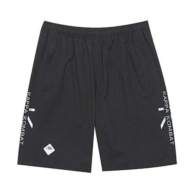 【KAPPA】舒適型男吸溼排汗中性平織半短褲 黑(32166UW005)