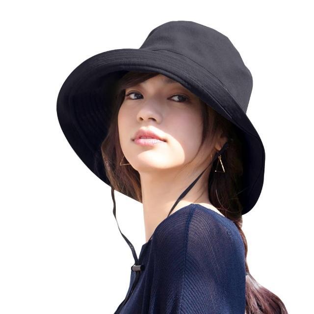 【艾兒時尚】日本熱銷第一純色百搭抗UV棉質防曬遮陽透氣可折疊好收納大帽簷漁夫帽 布帽(多色可選)