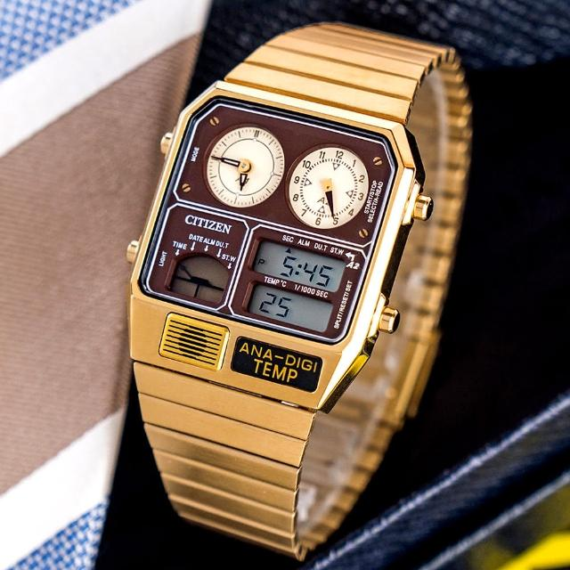【CITIZEN 星辰】金屬復刻數位雙顯不鏽鋼腕錶/金(JG2103-72X)