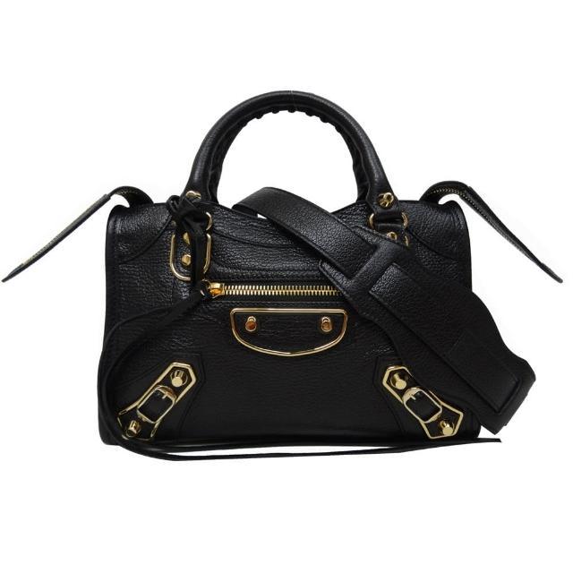 【Balenciaga 巴黎世家】MINI CITY 山羊皮金框機車包(黑色)