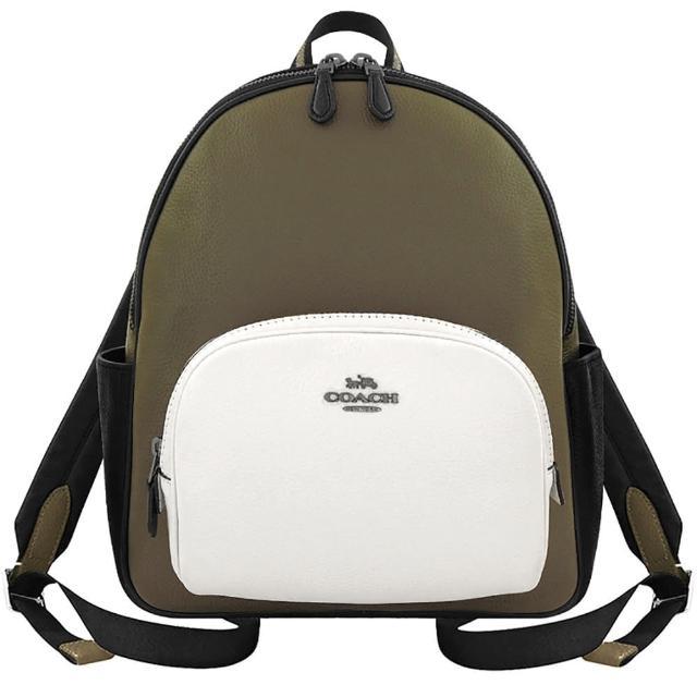 【COACH】荔枝紋皮革雙層後背包-橄欖綠色/中型(買就送璀璨水晶觸控筆)