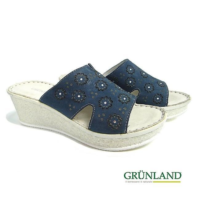 【GRUNLAND】義大利真皮雕花厚底彈力休閒拖鞋 深沉藍(義大利進口健康舒適鞋)