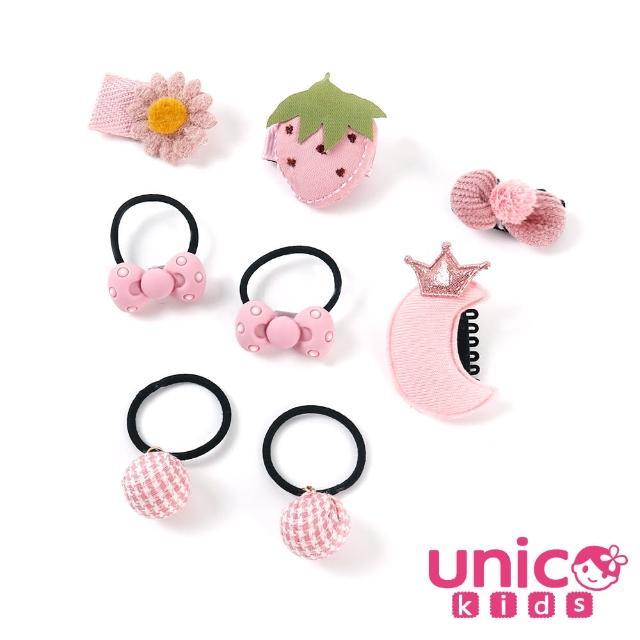 【UNICO】嬰兒少髮量寶寶粉系甜甜蝴蝶結草莓造型汗毛夾髮夾髮圈/髮飾(拍照/粉系/蝴蝶結/草莓造型)