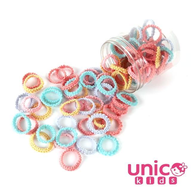 【UNICO】兒童少髮量甜美色彩100條髮圈-花邊馬卡龍風(配件/髮飾/Baby)