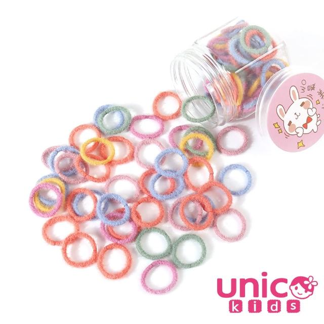 【UNICO】兒童少髮量甜甜百搭100條罐裝髮圈-羊毛絨彩風(配件/髮飾/Baby)