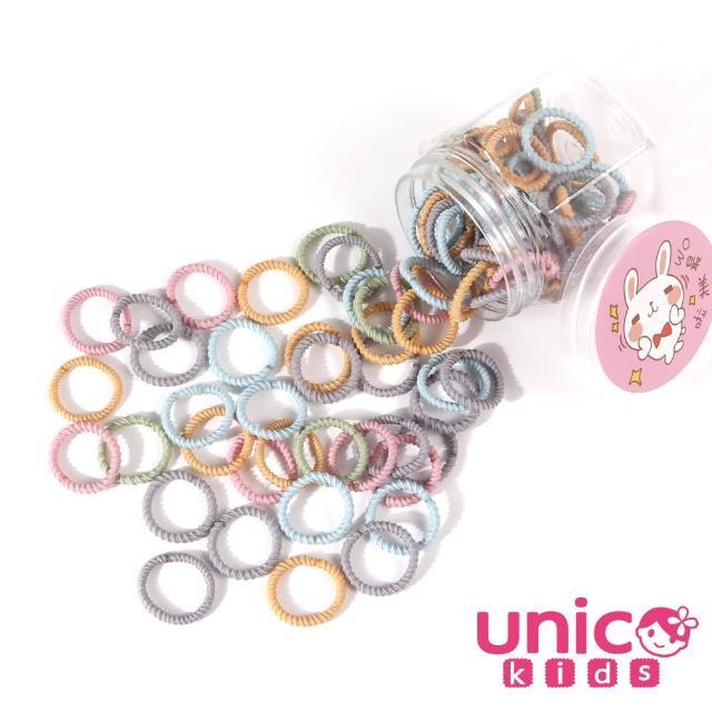 【UNICO】兒童少髮量甜甜百搭100條罐裝髮圈-韓妞甜美風(配件/髮飾/Baby)