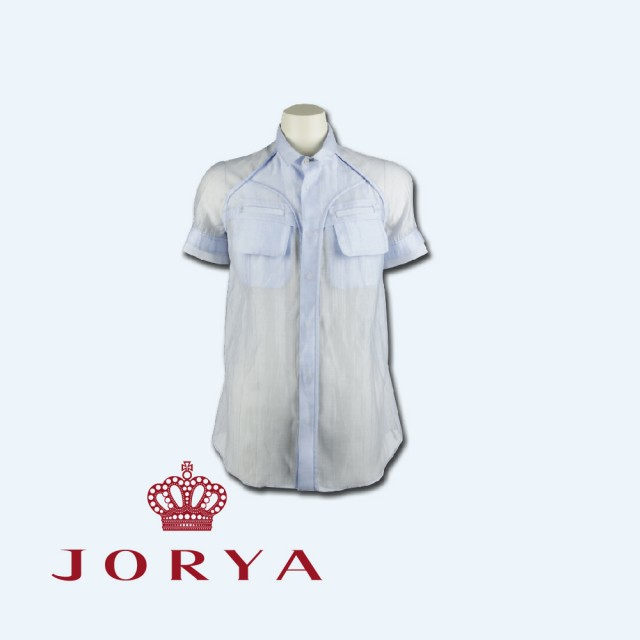 【JORYA】weekendG2201601透膚雙口袋設計天絲短袖襯衫上衣