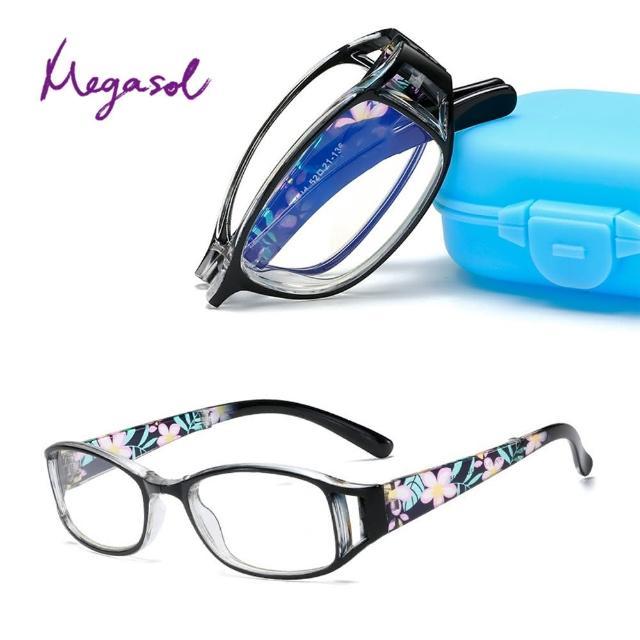 【MEGASOL】抗UV400濾藍光時尚女仕中性摺疊眼鏡大框手機眼鏡(印花摺疊橢圓矩方框-PX-018)