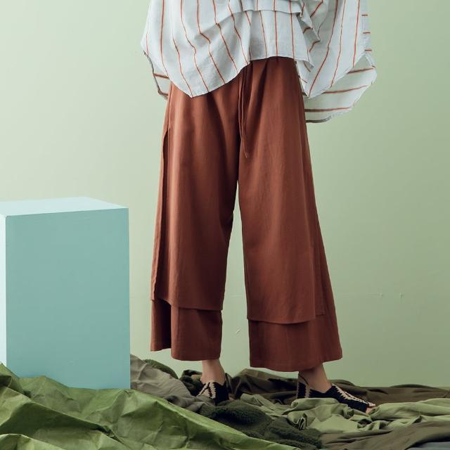【MOSS CLUB】雙層接片寬褲-女長寬褲 拼接 黑 桔(二色/魅力商品/版型合身)