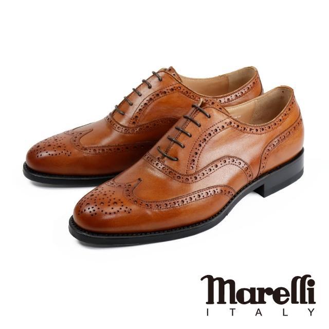 【Marelli】雅痞質感雕花翼紋牛津鞋 咖啡色(SN9207-1-TAN)