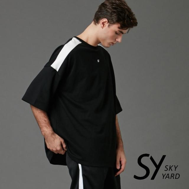 【SKY YARD】休閒寬版拼接圓領潮流T恤(黑色)
