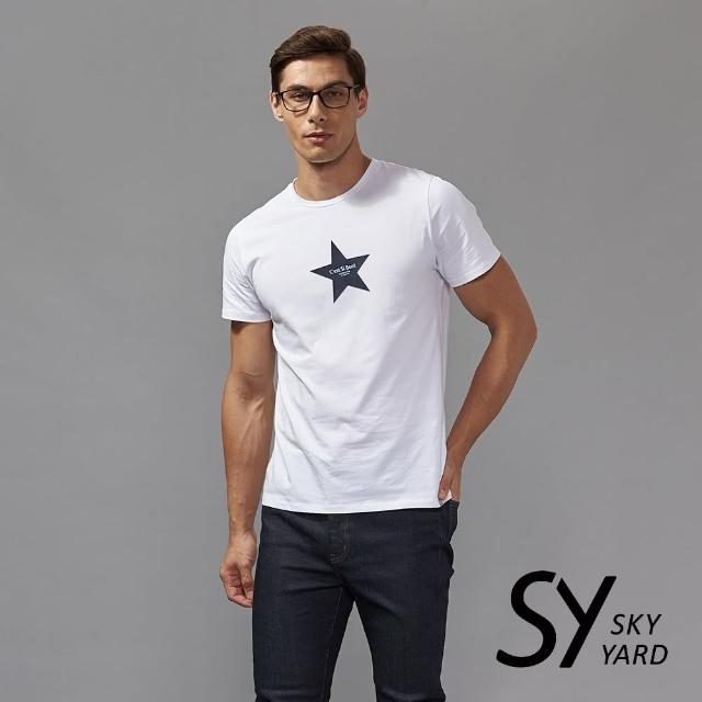 【SKY YARD】短袖圓領星星印花圓領T恤(白色)