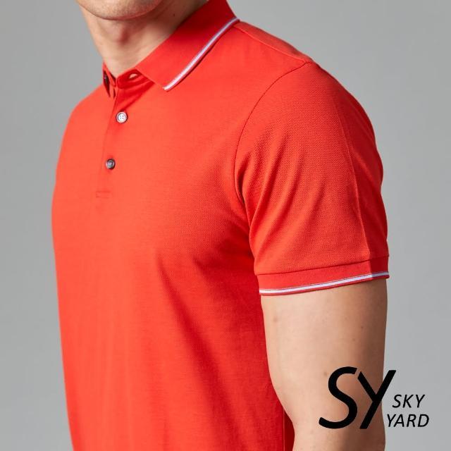 【SKY YARD】素色短袖配條領短袖POLO衫(紅色)