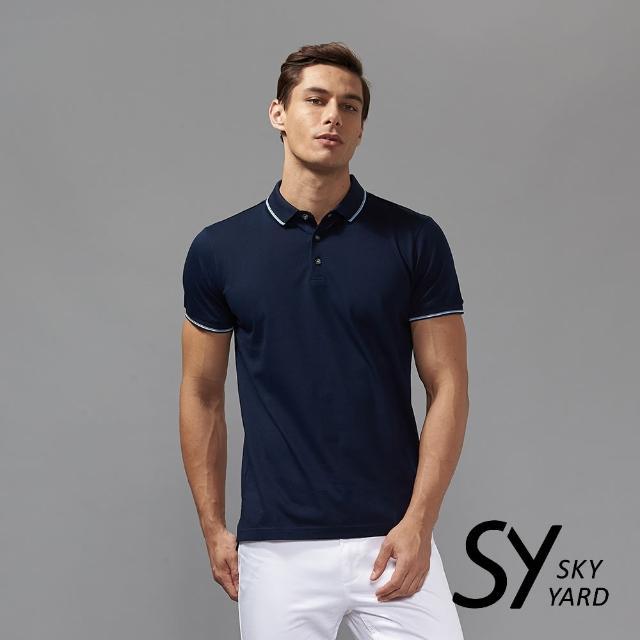 【SKY YARD】素色短袖配條領短袖POLO衫(深藍)