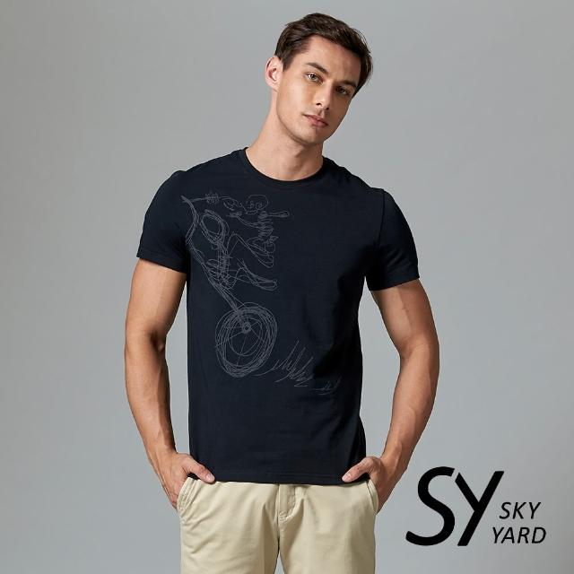 【SKY YARD】短袖圓領手繪塗鴉印花圓領T恤(黑色)