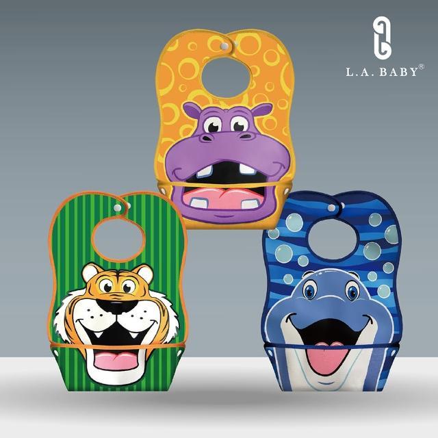 【L.A. Baby】L.A. Baby 防水立體寬口袋圍兜 超值3入組(多款可選)