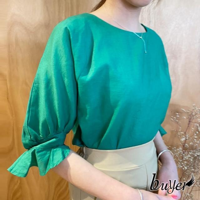 【buyer 白鵝】涼爽 棉麻袖口花苞袖造型上衣(綠)