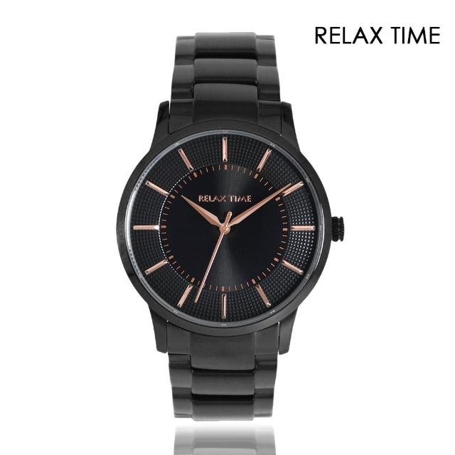 【Relax Time】紳士款 黑色系 玫瑰金刻度 不鏽鋼錶帶(RT-76-3)