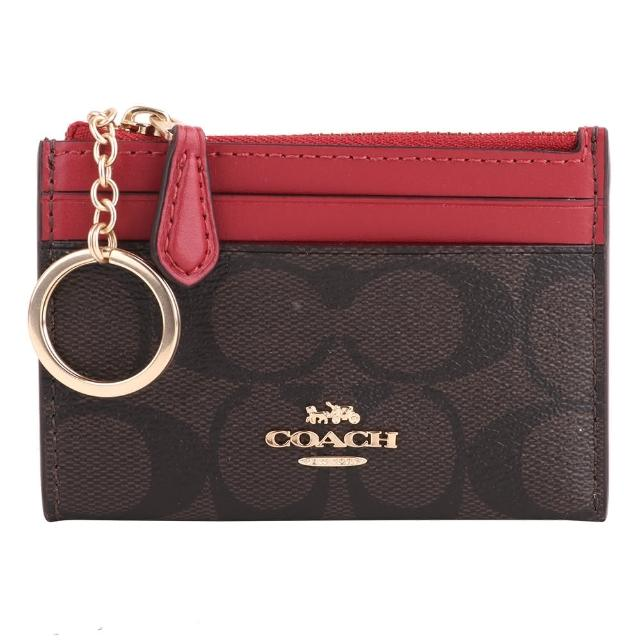 【COACH】防刮LOGO皮革卡夾/名片夾/零錢包(深咖x桃紅)