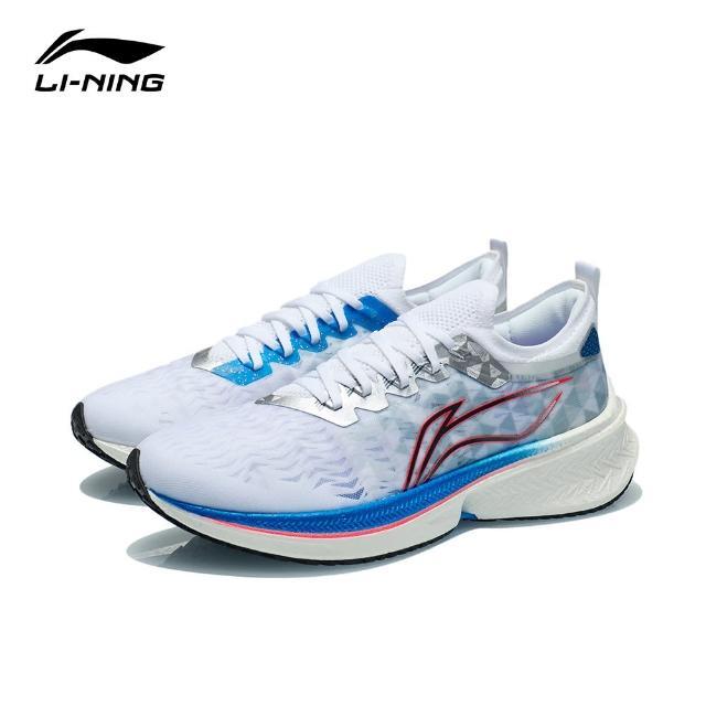 【LI-NING 李寧】飛電Discovery男子一體織減震回彈競速跑鞋 標準白(ARMR005-9)