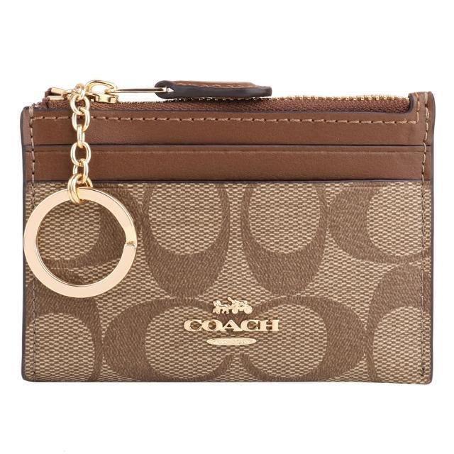 【COACH】防刮LOGO皮革卡夾/名片夾/零錢包(深卡其.駝)