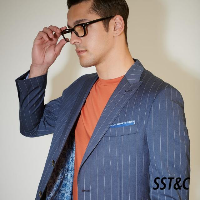 【SST&C】海軍藍直條紋修身西裝外套0112104007