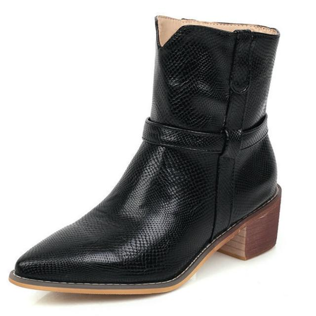 【Sp house】歐美皮紋尖頭粗跟街頭短靴鞋(6色可選)