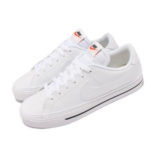 【NIKE 耐吉】休閒鞋 Court Legacy 運動 男女鞋 後跟NIKE壓印 皮革 復古網球風 情侶 白 黑(CU4150-100)