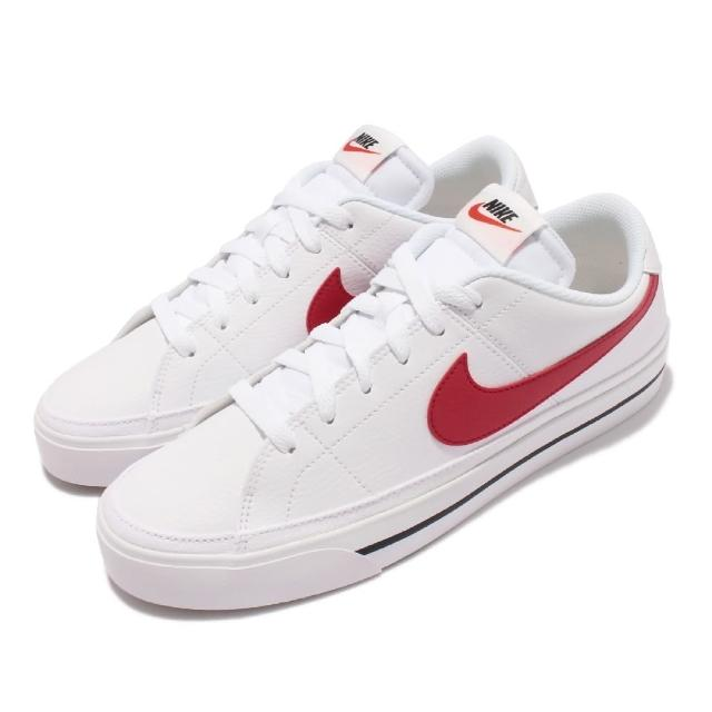 【NIKE 耐吉】休閒鞋 Court Legacy 運動 男鞋 後跟NIKE壓印 皮革 復古網球風 穿搭 白 紅(CU4150-105)