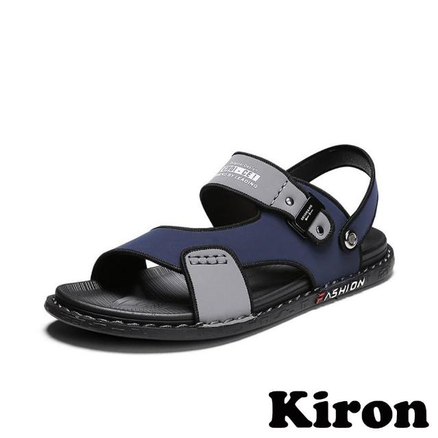 【Kiron】兩穿涼鞋/兩穿法運動風個性拼接休閒涼拖鞋-男鞋(藍)
