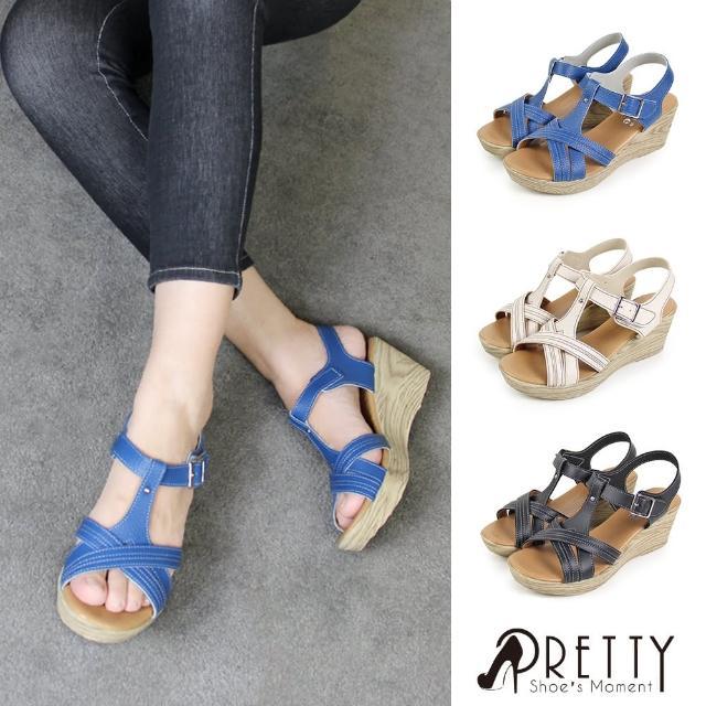 【Pretty】台灣製交叉鏤空繞踝沾黏式厚底楔型涼鞋(藍色、米色、黑色)