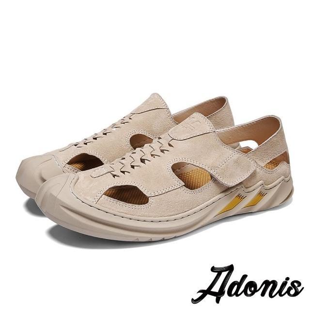 【Adonis】真皮手工縫線護趾機能質感休閒戶外涼鞋-男鞋(棕)