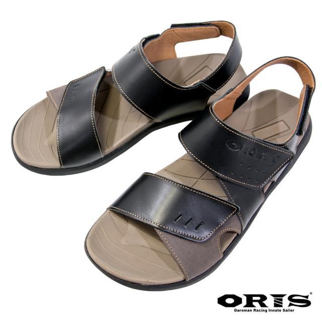 【oris 帆船鞋】三段式黏扣帶防滑真皮涼鞋-黑-S1322N01(真皮/三段黏扣帶/防滑/涼鞋)