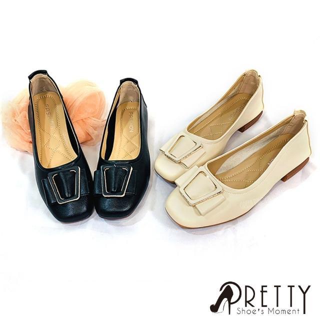 【Pretty】女款素食皮革素色方形釦水鑽低跟方頭娃娃鞋(米色、黑色)