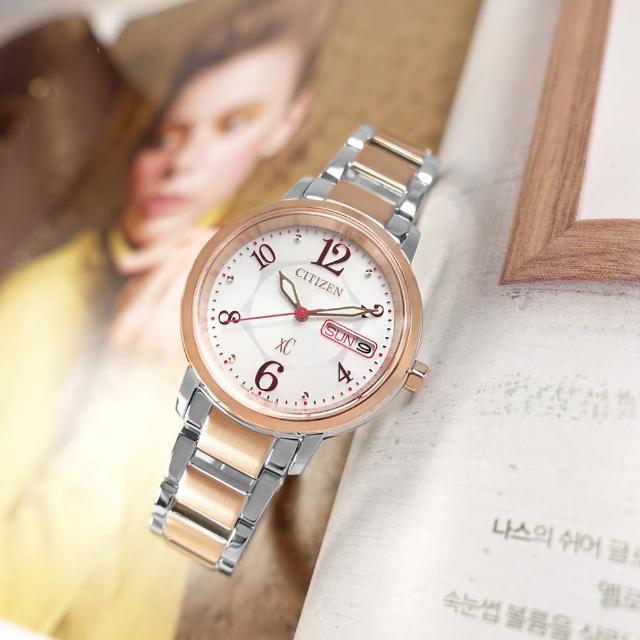 【CITIZEN 星辰】XC 光動能 藍寶石水晶玻璃 星期日期 不鏽鋼手錶 銀白x鍍玫瑰金 33mm(EW2424-68A)