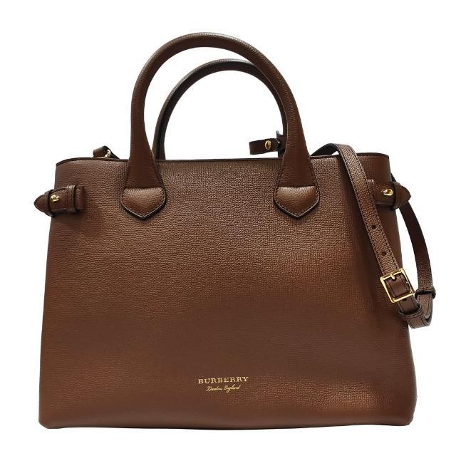 【BURBERRY 巴寶莉】80365031經典 Banner皮革拚接格紋中型手提包/肩背包(棕色)