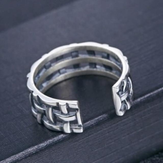 【米蘭精品】925純銀戒指鑲鑽銀飾(韓版復古編織設計情人節生日禮物女飾品73dx24)