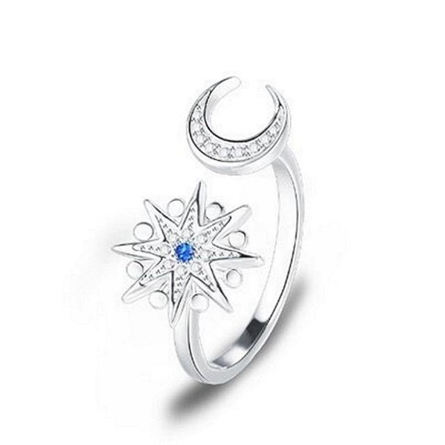 【米蘭精品】925純銀戒指鑲鑽銀飾(時尚百搭星星月亮造型情人節生日禮物女飾品73dx35)