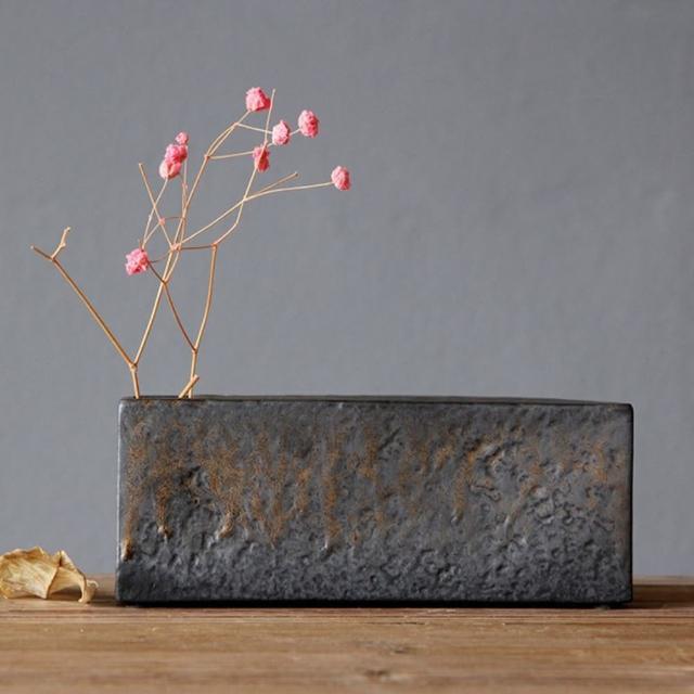 【JEN】日式禪風粗陶花器花瓶桌面擺飾居家裝飾17.5*6.5*3.5cm(長方形)