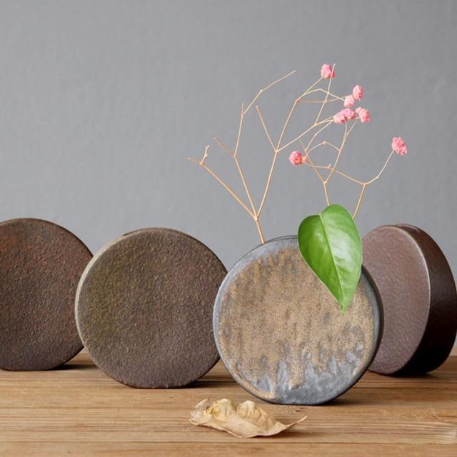 【JEN】日式禪風迷你粗陶花器花瓶桌面擺飾居家裝飾10.3*3.5*10cm(圓形)
