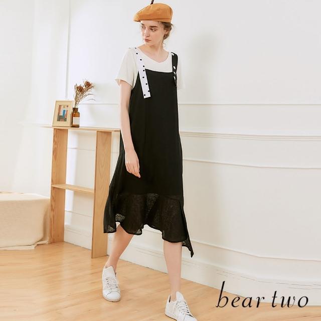 【bear two】黑白圓點肩帶背心洋裝