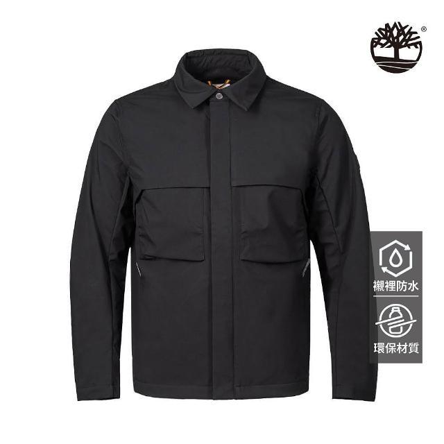 【Timberland】男款黑色Eco Ready防水教練外套(A2G9E001)
