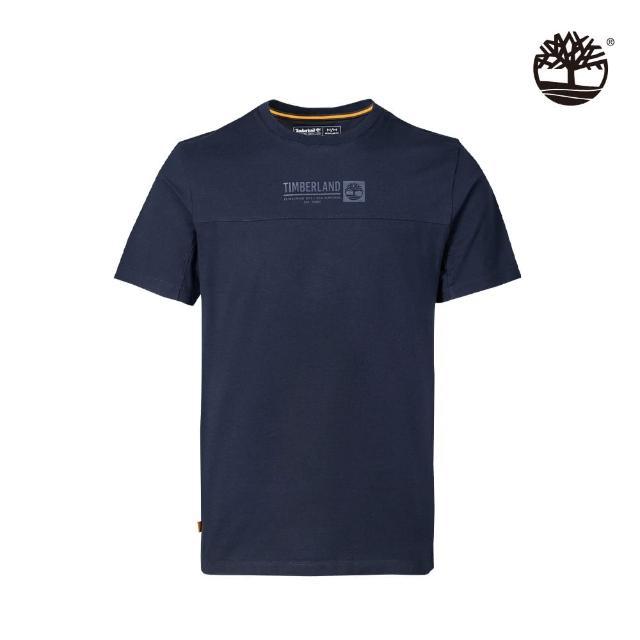 【Timberland】男款深寶石藍有機棉Logo短袖T恤(A431R433)