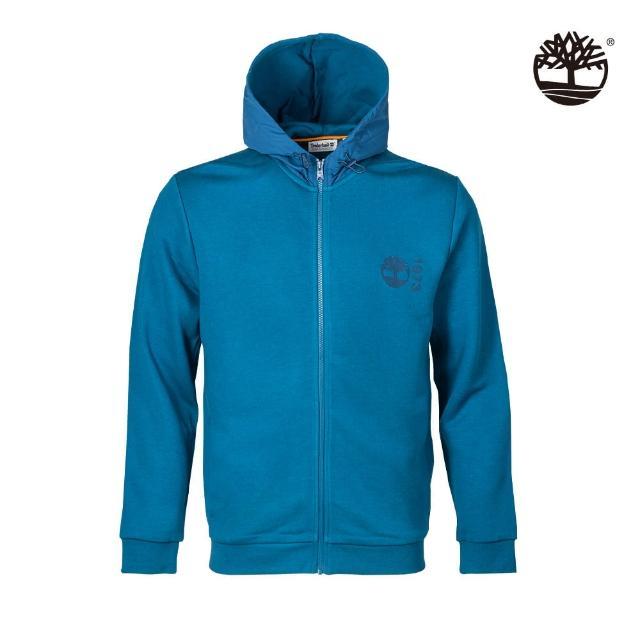 【Timberland】男款藍色有機棉Re-Comfort EK+標誌連帽外套(A431CG94)