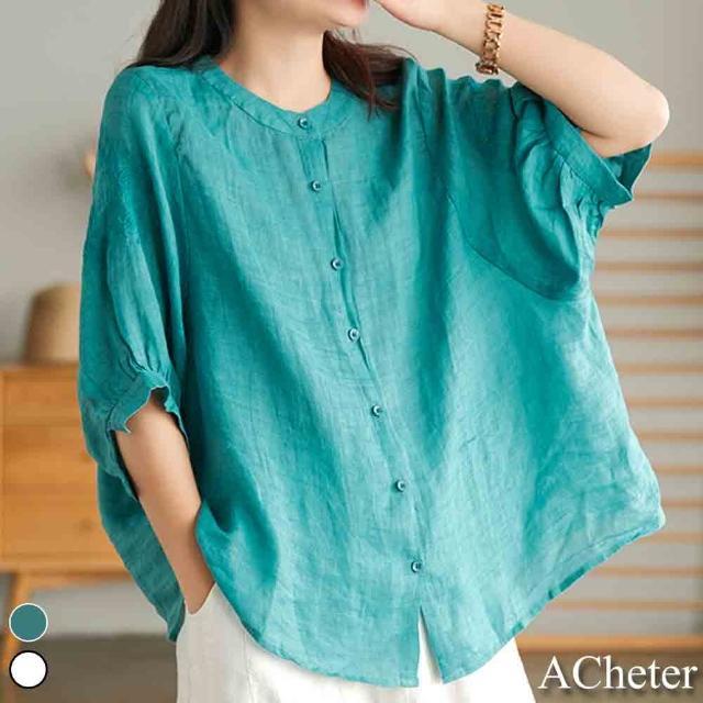 【ACheter】輕盈空氣衫繡花棉麻寬鬆上衣#110038現貨+預購(2色)