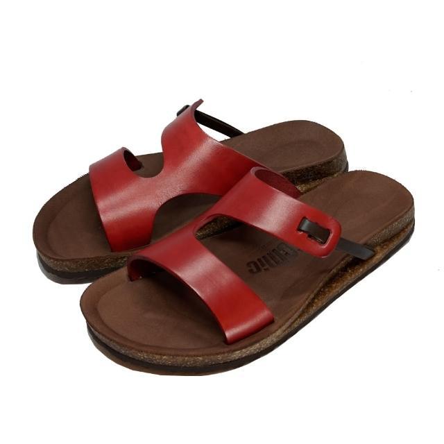 【皮克米】腳背簍空 足弓墊厚底拖鞋(真皮)