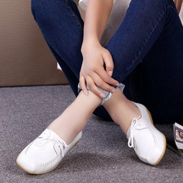 【LN】現+預 韓版真皮牛筋軟底休閒豆豆鞋(休閒/百搭/真皮/小白鞋)