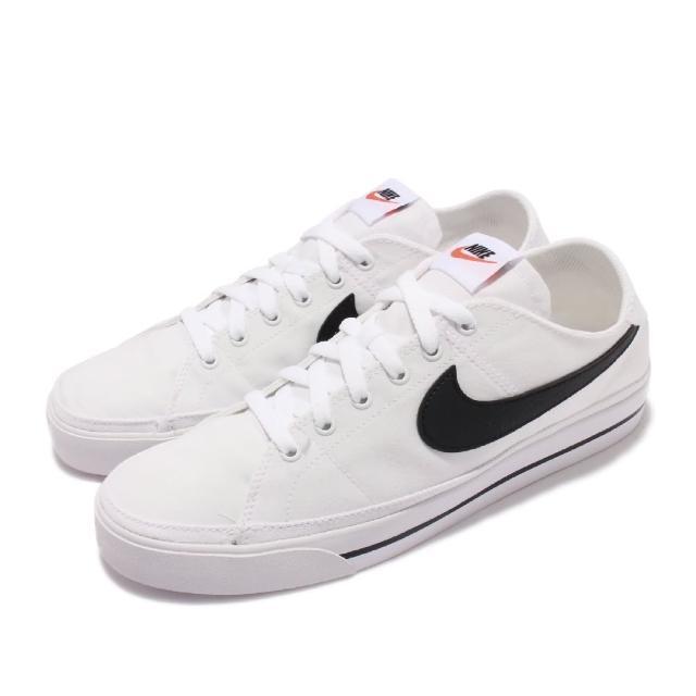 【NIKE 耐吉】休閒鞋 Court Legacy Canvas 男鞋 基本款 帆布 皮革logo 輕便 穿搭 白 黑(CW6539-101)