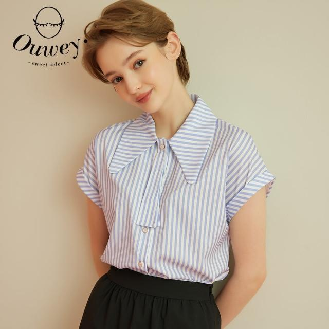 【OUWEY 歐薇】水鑽排釦造型領結條紋連袖襯衫3212461548(藍)
